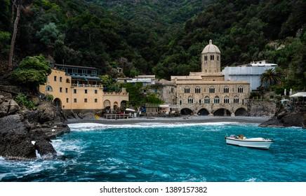 San Fruttuoso abbey in Camogli, Liguria, Italy.