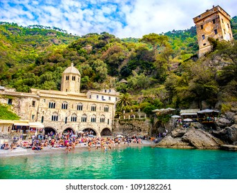 San Fruttuoso abbey - Genova - Liguria - worship place and small beach between Portofino and Camogli reachable only by sea or hiking