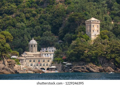 San Fruttuoso Italy July 6th 2015 : The stunning little town of San Fruttuoso near Camogli on the Ligurian coast, which can only be reached by ferry or by foot