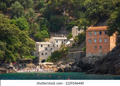 San Fruttuoso Italy July 6th 2015 : Restaurant in the stunning little town of San Fruttuoso near Camogli on the Ligurian coast, which can only be reached by ferry or by foot