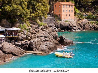 SAN FRUTTUOSO, ITALY - MAY 13, 2013  Liguria, Italy - the blue waters of San Fruttuoso bay the Tigullio gulf coast, a little piece of paradise accessible only by a pedestrian path from the hill abov