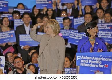 SAN GABRIEL, LA, CA - JANUARY 7, 2016, Democratic Presidential candidate Hillary Clinton surveys crowd at Asian American and Pacific Islander (AAPI) event, including Democrat Representative Judy Chu.