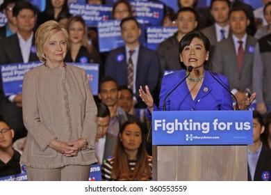 SAN GABRIEL, LA, CA - JANUARY 7, 2016, Democratic Presidential candidate Hillary Clinton speaks to Asian American and Pacific Islander (AAPI) members, including Democrat Representative Judy Chu.