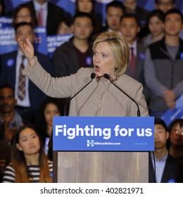 SAN GABRIEL, LA, CA - JANUARY 7, 2016, Democratic Presidential candidate Hilla