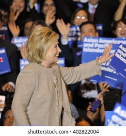 SAN GABRIEL, LA, CA - JANUARY 7, 2016, Democratic Presidential candidate Hillary Clinton waves and smiles to Asian American and Pacific Islander (AAPI) members.