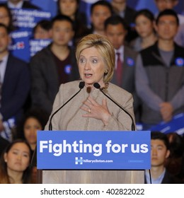 SAN GABRIEL, LA, CA - JANUARY 7, 2016, Democratic Presidential candidate Hillary Clinton speaks to Asian American and Pacific Islander (AAPI) members.