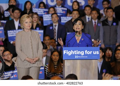 SAN GABRIEL, LA, CA - JANUARY 7, 2016 Presidential candidate Hillary Clinton stairs at crowd at Asian American and Pacific Islander (AAPI) members & Representative Judy Chu speaks at podium.