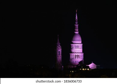 San Gaudenzio Dome and Bell Tower, symbol of Novara, by night, illuminated by pink color