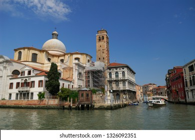 San Geremia church with ancient Romanesque bell tower and Palazzo Labia Venice, Italy - May 23, 2007
