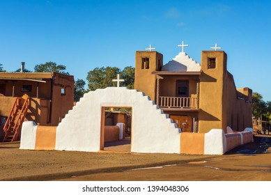 San Geronimo Catholic Church at Taos Pueblo in New Mexico. Taos Pueblo is believed to be one of the oldest continuously inhabited settlements in USA.