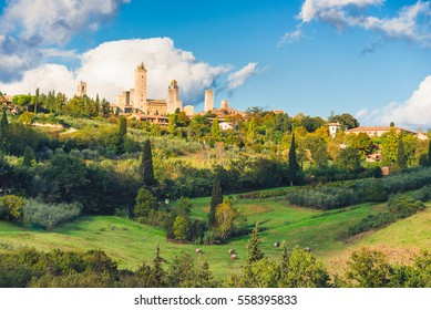 San Gimignano before sunset, a historical town in Tuscany, Italy