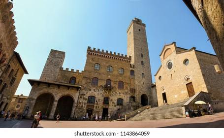 SAN GIMIGNANO, Italy - JUNE, 23, 2017: Center of San Gimignano small ancient city in Toscana, Italy on June 23. 2017.