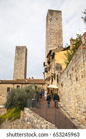 SAN GIMIGNANO, TUSCANY - JULY 16, 2016 - view over the medieval old town of San Gimignano city of towers or Manhattan of Tuscany in the province of Siena famous for the Vernaccia white wine