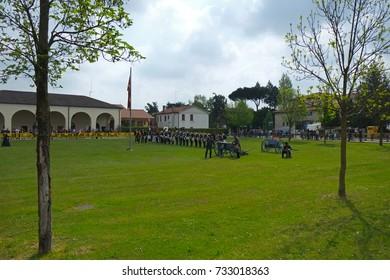 SAN GIORGIO IN BOSCO, ITALY - APRIL 2015; The battle of Venetian army in XVIII century