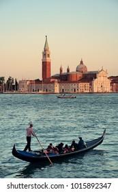 San Giorgio Maggiore church and gondola in Venice, Italy.
