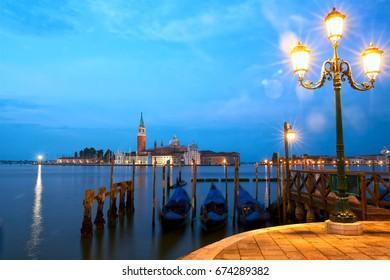 San Giorgio Maggiore church and gondolas in Venice, Italy