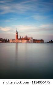 San Giorgio Maggiore church at sunrise moment in Venice, Italy.
