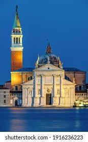 The San Giorgio Maggiore church in Venice, Italy, at night