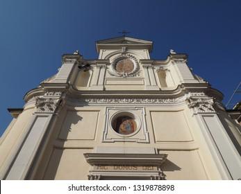 San Giovanni Battista (John the Baptist) church in Alba, Italy. Hic Domus Dei means The House of the Lord