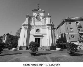San Giovanni Battista (John the Baptist) church in Alba, Italy. Hic Domus Dei means The House of the Lord in black and white