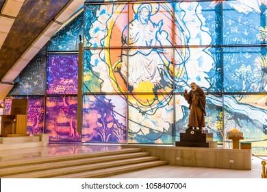 San Giovanni Rotondo, 01 June 2017. Internal view of  Sanctuary of San Giovanni Rotondo, in Apulia, region, south Italy.