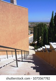 San Giovanni Rotondo, Apulia, Italy - July 12, 2007: external staircase view from the churchyard