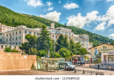 SAN GIOVANNI ROTONDO, ITALY - JUNE 10: Casa Sollievo della Sofferenza, private hospital founded in 1956 by Saint Pio of Pietrelcina, located in San Giovanni Rotondo, Italy, June 10, 2018