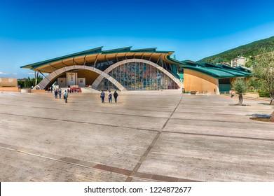 SAN GIOVANNI ROTONDO, ITALY - JUNE 10: Facade of the Sanctuary of Saint Pio of Pietrelcina, Catholic shrine designed by Renzo Piano in San Giovanni Rotondo, Italy, June 10, 2018