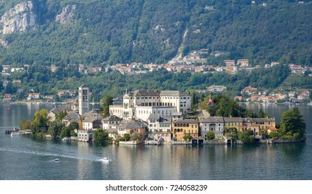 San Giulio island in the middle of Orta Lake, Piedmont, Northern Italy