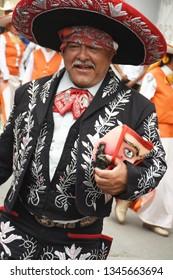 San Gregorio Atlapulco, Mexico City/Mexico--March 17, 2019. Carnaval in San Gregorio features a charro procession through the village.