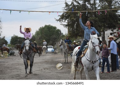 San Gregorio Atlapulco, Mexico City/Mexico--March 17, 2019. Charrería is a traditional contest performed by charros in pueblos across Mexico.