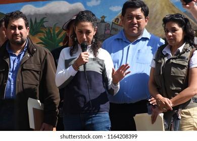 San Gregorio Atlapulco, Mexico/Mexico--August 20, 2018. Claudia Sheinbaum, Mexico City's first female mayor, giving a speech.
