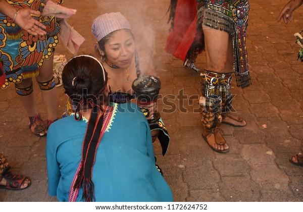 San Gregorio Atlapulco, Mexico/Mexico--September 3, 2018.  An Aztec cleansing ceremony,