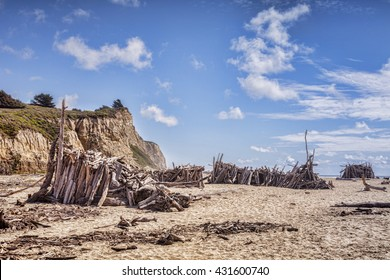 San Gregorio State Beach, San Mateo County, California, with driftwood structures.