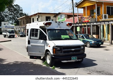 San Ignacio Belize - 29 June 2016 - Local bus at bus station . Around San Ignacio, there are many interesting and big ruins. So many tourist visit and stay there.