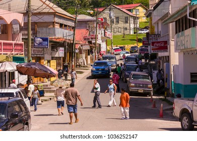 SAN IGNACIO, BELIZE - AUGUST 7, 2008: Bustling street scene on Burns Avenue.