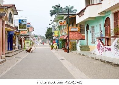 San Ignacio, Belize - March 22, 2015: The famous Burns Avenus is seen early in the morning before all the local businesses are open for tourists in San Ignacio, Belize