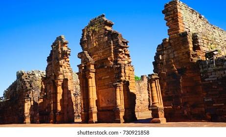 San Ignacio Mini. Part of the UNESCO site - Jesuit Missions of the Guaranis: San Ignacio Mini, Santa Ana, Nuestra Señora de Loreto and Santa Maria Mayor, Ruins of Sao Miguel das Missoes (Brazil)