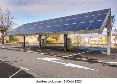 SAN ILDEFONSO, SEGOVIA, SPAIN - OCTOBER 24, 2018: Car charging station for self-sufficient and first photovoltaic panels in Europe. it is also free.