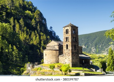 San Joan de Caselles (Andorra), romanesque church in a mountain environment, at summer