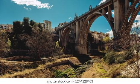"San Jordi Bridge, Art Deco style, one of the most famous bridge in Alcoy city.  The city is known as ""city of bridges"". Province of Alicante, Spain"