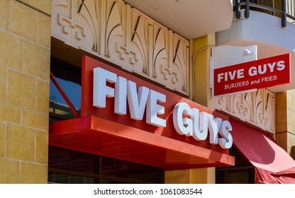 San Jose, CA - Apr. 3, 2018: Five Guys branch restaurant in Redwood City, CA