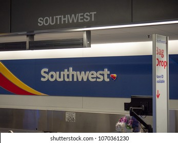 SAN JOSE, CA - APRIL 14, 2018: Southwest Airlines baggage check kiosk at San Francisco International Airport