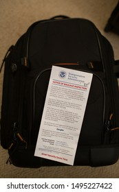 San Jose, CA - August 4, 2019: TSA notice of Baggage inspection on top of a backpack.