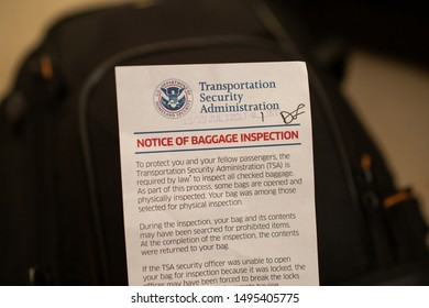 San Jose, CA - August 4, 2019: Baggage inspection notice from TSA found in checked luggage.