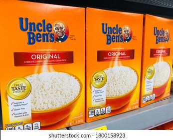 San Jose, CA - Augusut 19, 2020: Boxes of Uncle Ben's Original white rice on supermarket shelf.