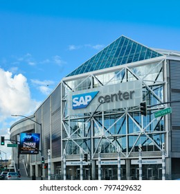 San Jose, CA - Jan. 19, 2018: SAP Center is an indoor arena located in San Jose, California. Its primary tenant is the San Jose Sharks of the National Hockey League.