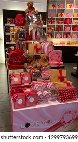 San Jose, CA - January 26, 2019. Godiva Chocolate store stocking up for Valentine's day, a commercial holiday to celebrate love.