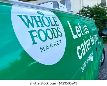 San Jose, CA - June 12, 2019: Closeup of the Whole Foods delivery catering van. Whole Foods is owned by Amazon LLC.