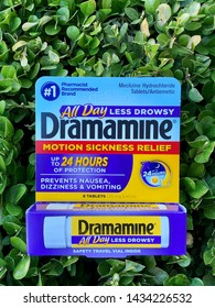 San Jose, CA - June 25, 2019: Closeup of Dramamine drug, #1 pharmacist recommended for motion sickness especially for airline travelers.